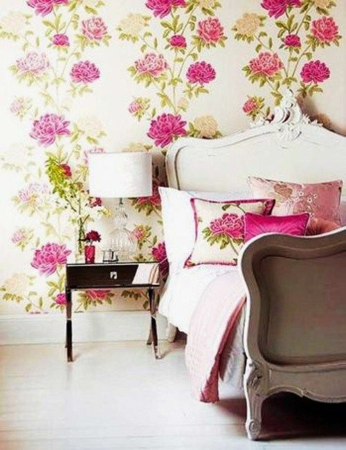 Girly floral bedroom wallpaper pinterest for Girly wallpapers for bedrooms