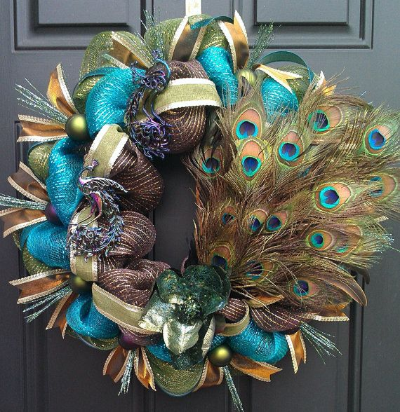 Peacock Mardi Gras turquoise brown and green deco mesh wreath on Etsy, $75.00
