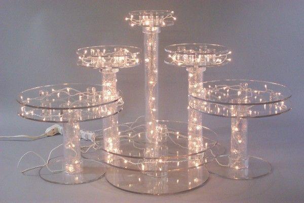 Light up cake stand oneworld memorials light up pedestal - Bases para cupcakes ...
