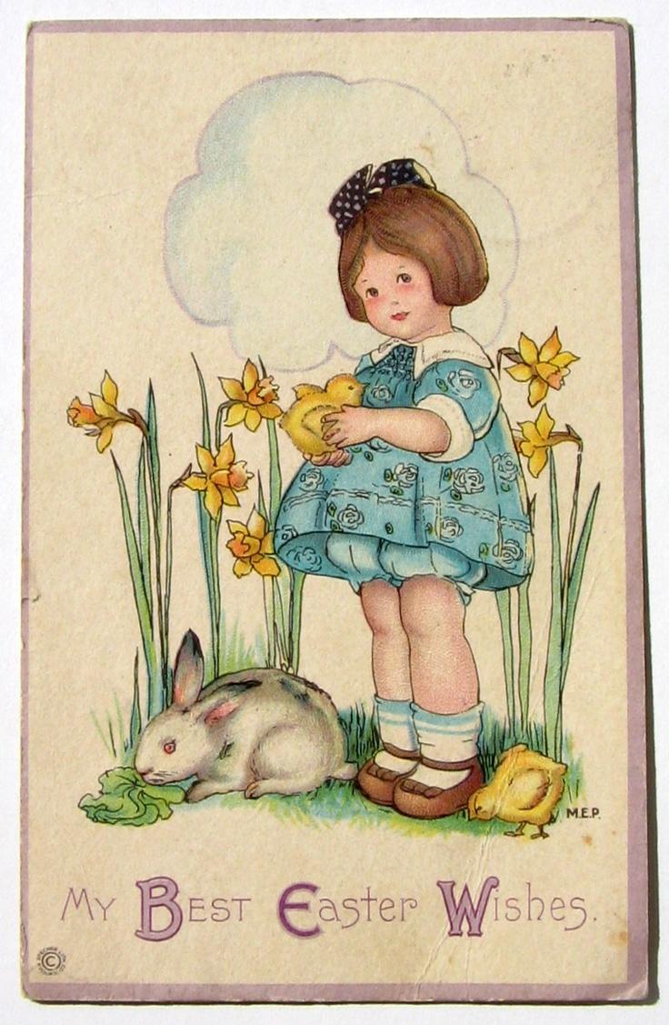 Vintage postcard Easter Bunny Little Girl Chick Daffodils Garden Jonquils - Margaret Evans Price