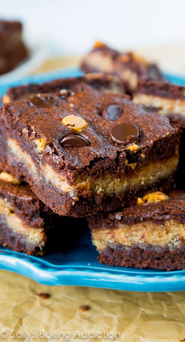 Fudgy homemade brownies stuffed with creamy peanut butter filling - if ...