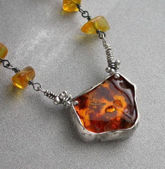 Sterling silver and Baltic Amber necklace from Studio94.   What a bold piece of jewelry.