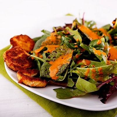 Mixed Greens with Goat Cheese and Roasted Red Pepper Vinaigrette ...