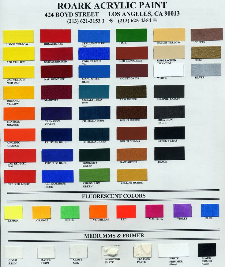 Roark acrylic paint colors acrylic pinterest for Oil paint colors names