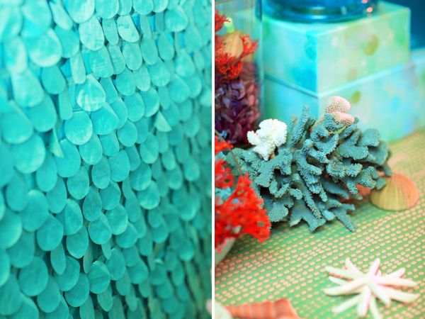 Under the sea birthday party backdrop and coral