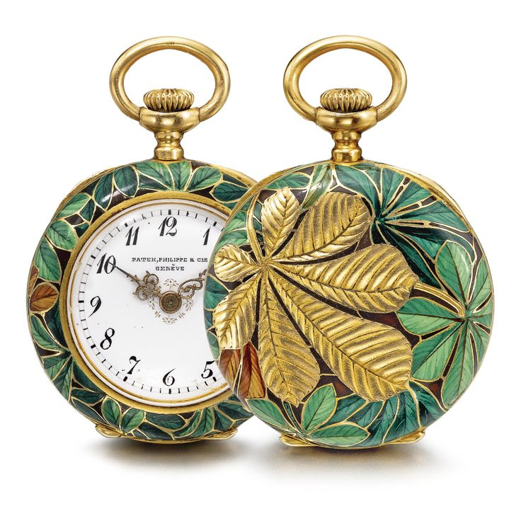 PATEK PHILIPPE A LADY'S RARE 18K YELLOW GOLD AND CLOISONNÉ ENAMEL OPEN-FACED PENDANT WATCH 1896 MVT 107026 CASE 217888