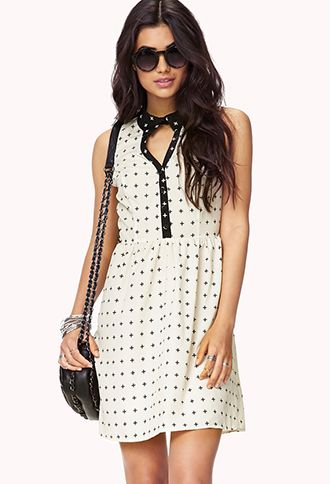 Cross Pattern Shirt Dress | FOREVER21 - 2046142230