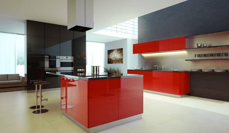 Red And Grey Kitchen Cabinets Beauteous Design Decoration