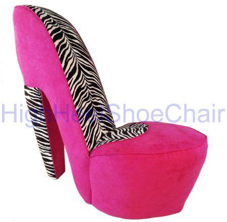Zebra and hot pink high heel shoe chair pink chair wiith zebra print