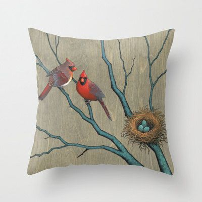 Cardinal Bird Throw Pillows : Cardinal Throw Pillow Cover - woodland birds home decor