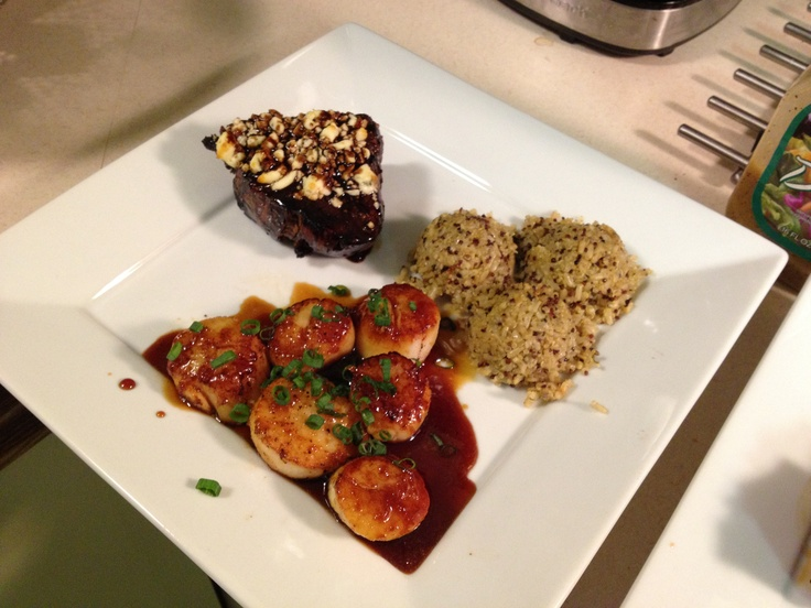 Balsamic blue cheese filet mignon with mandarin soy glazed deep sea ...