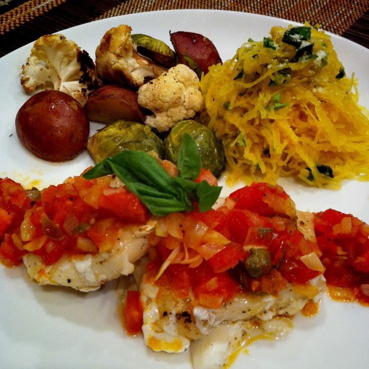 Roasted cod and vegetables with Herb and Parmesan Spaghetti Squash