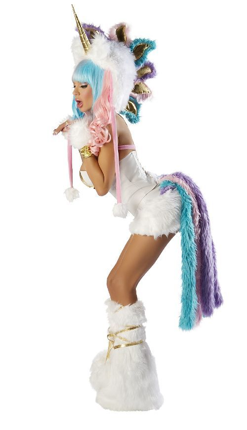 Frolic around in delightful fantasy in our sexy Unicorn Corset and Skirt Costume from the Josie Loves J Valentine collection. This adult unicorn Halloween costume is sure to turn more than a few heads! Our women's Unicorn costume includes a strapless white lace-up corset featuring built-in boning, a side zipper and a metallic gold insert and a white mini skirt with white faux fur hem and an attached pastel rainbow fur tail. Embr...
