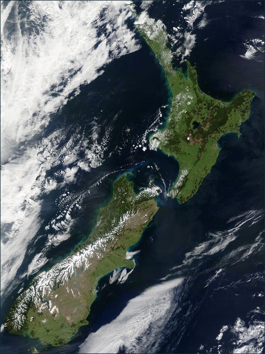 New Zealand - satellite picture taken by the Moderate Resolution Imaging Spectroradiometer (MODIS), flying aboard NASA's Terra satellite, on October 23, 2002.