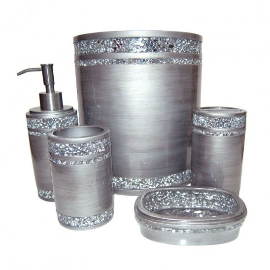 Mosaic silver bath collection bathroom pinterest for Silver bath accessories set