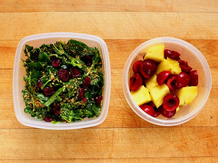 Kale salad (with pecan Parmesan and cranberries) and pineapple chunks ...