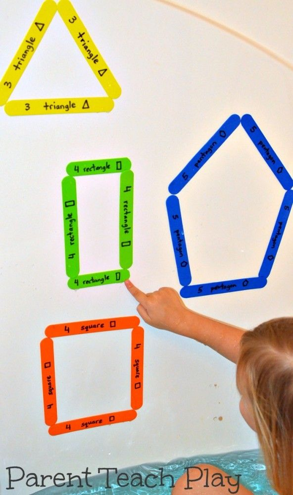 easy way to teach shapes – craft foam cut into sticks, colour coded and labelled
