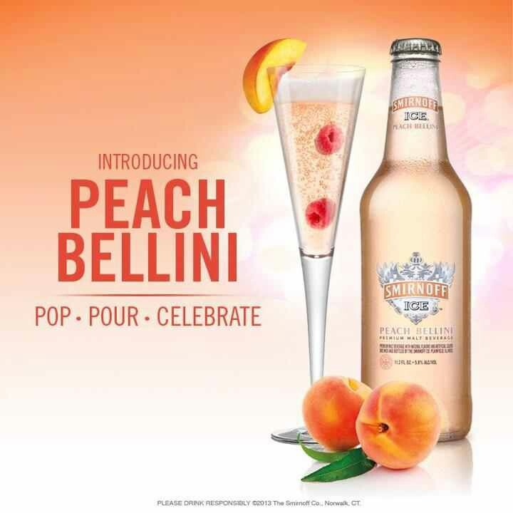 Peach bellini Smirnoff... Need to try this.