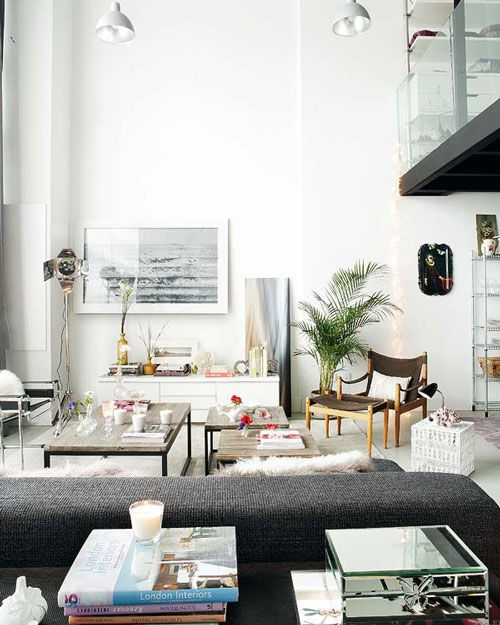 a mix of modern and retro vintage furnishings