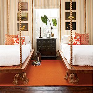 The hanging beds are awesome! Colors r not my style but love the beds!!