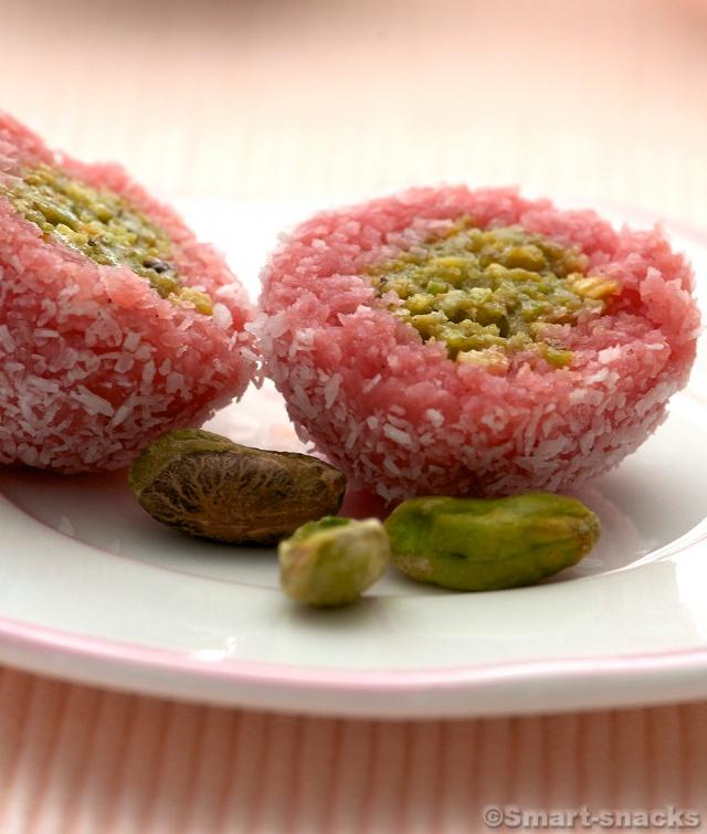 Pistachio Stuffed Coconut Ladoo - Indian sweet