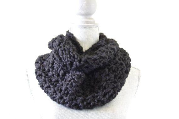 Black Crochet Infinity Scarf. Hometown USA Yarn. by IvoryandWool, $30 ...