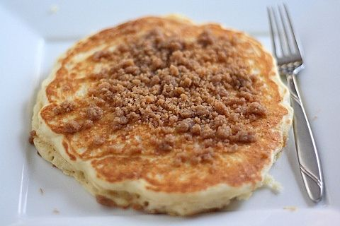 ... the moment and these Cinnamon Streusel Pancakes are calling my name