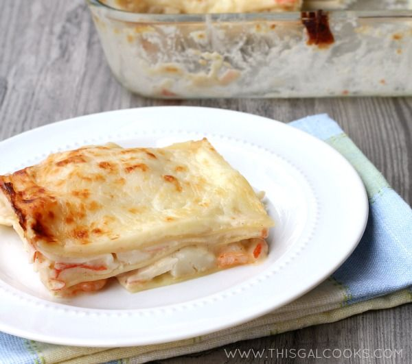 Seafood Lasagna from www.thisgalcooks.com #seafoodrecipes #lasagna 2