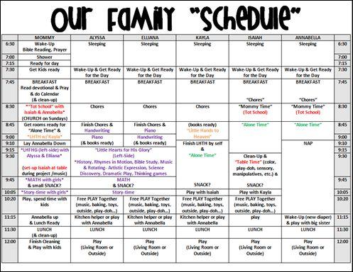 High school course work schedule examples