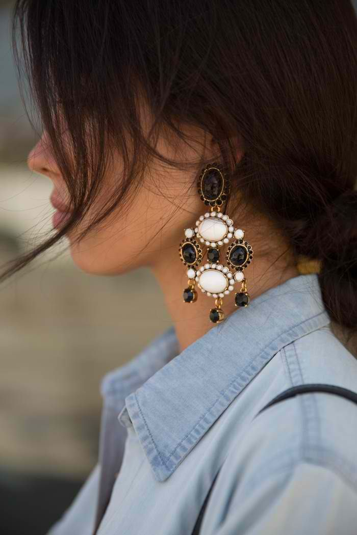 statement earrings + denim