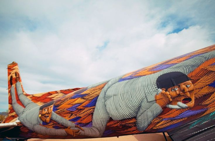 the pima air + space museum (PIMA) is hosting 'art from the boneyard', a project curated by eric firestone, carlo mccormick,   leslie oliver and med sobio featuring several non-functioning WWII american military airplanes covered in the painted work   of contemporary artists.