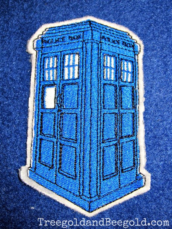 Doctor Who Tardis Embroidered Sew On Patch by TreegoldandBeegold, $8.00