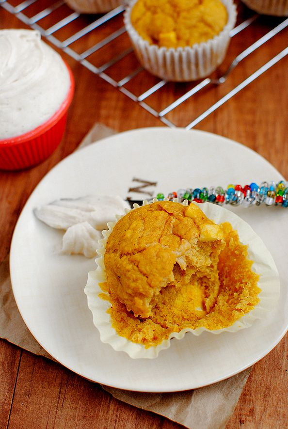 Pumpkin Apple Muffins with Cinnamon Cream Cheese {Iowa Girl Eats}