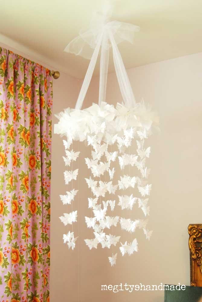 White butterfly chandelier diy kit mobile nursery party wedding - Diy chandelier kit ...