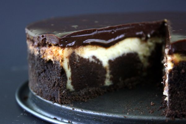 Brownie Cheesecake with Chocolate Caramel Ganache #recipe