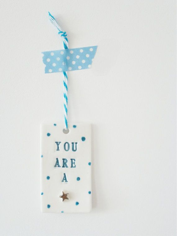Polka dots You are a star porcelain home decor by delphineandmax, £6.00