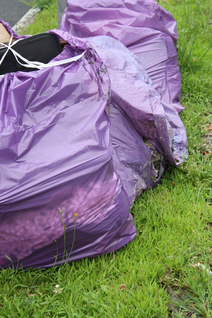 purple trash bags...