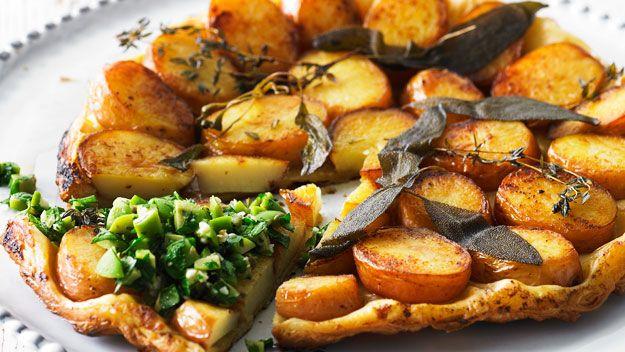 Potato tarte tatin with chunky green olive tapenade