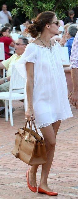 White Dress & Orange Flats