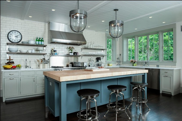 GRAY KITCHEN BLUE ISLAND  French Interiors  Pinterest