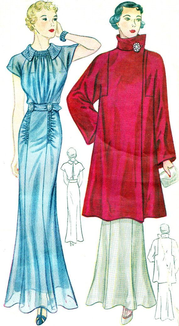 1930s Evening Dress Pattern Simplicity 1965 LOVE this coat.