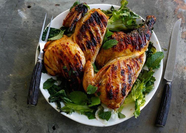 Recipe for grilled chicken under a brick with orange and saffron - Th ...
