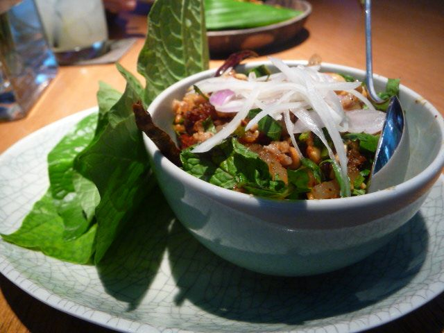 Minced spicy pork and betel leaves at David Thomspon's Nahm in Bangkok