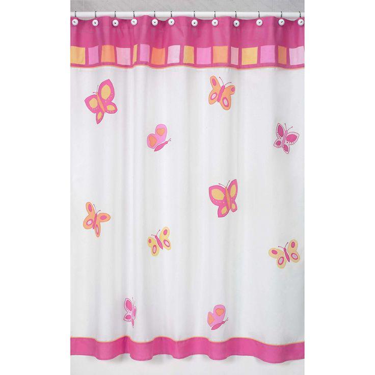 Sweet Jojo Designs Pink and Orange Butterfly Kids Shower Curtain