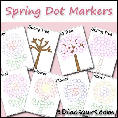 Spring Yarn Tree  & Spring Dot Printables - 3Dinosaurs.com