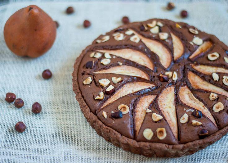 Chocolate, Pear and Hazelnut Tart