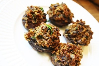 Vegan stuffed baby portobello mushrooms | mouth watering | Pinterest