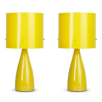 Pair Of Modern Funky Gloss Yellow Ceramic Bedside Table