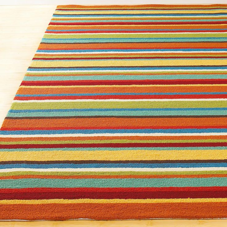 Indoor Outdoor Colorful Stripe Hooked Rug; Maybe use at the back door ...