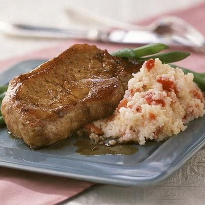 Balsamic Glazed Pork Chops with Red Pepper Grits by Cooking Light